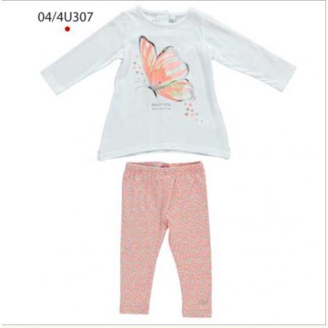 Conjunto largo leggins corazones naranja y camiseta