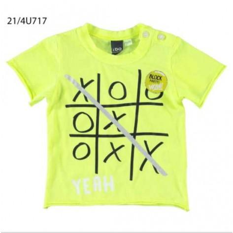 Camiseta manga corta amarilla fluor tres en raya