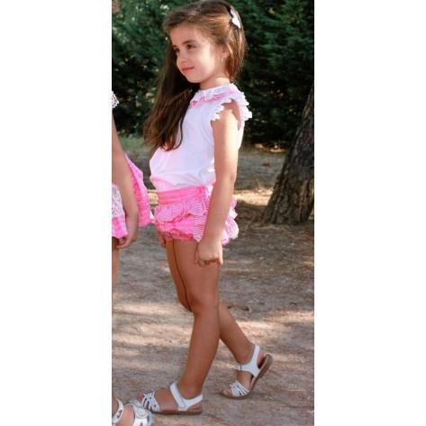 Conjunto short plumeti rosa volantes y blusa