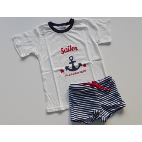 Conjunto infantil boxer rayas marino y camiseta