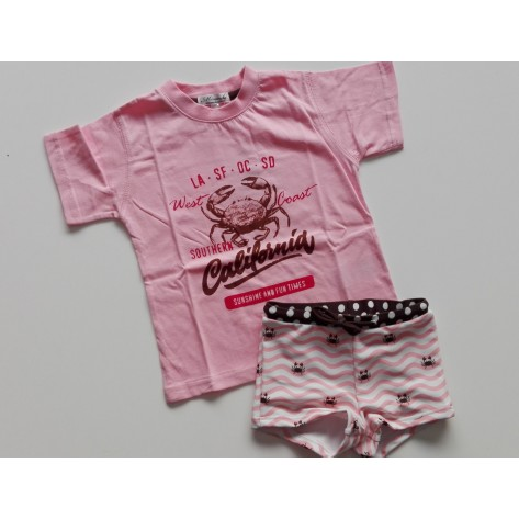 Conjunto infantil boxer y camiseta rosa y marrón
