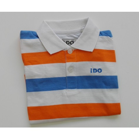 Polo manga corta rayas azul - blanco - naranja