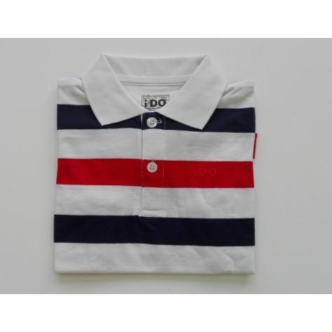 Polo manga corta rayas marino - blanco - rojo