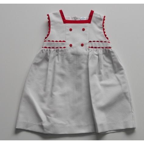 Vestido fam. Lidia blanco y rojo