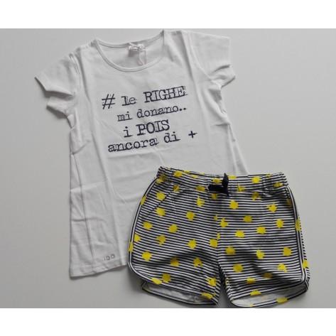Conjunto sport short y camiseta marino-blanco-amarillo