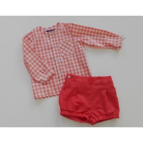 Conjunto St. Tropez camisa y bombacho cuadros