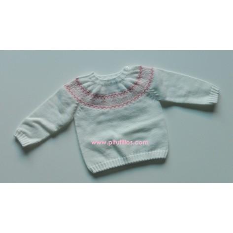 Jersey blanco con greca rosa
