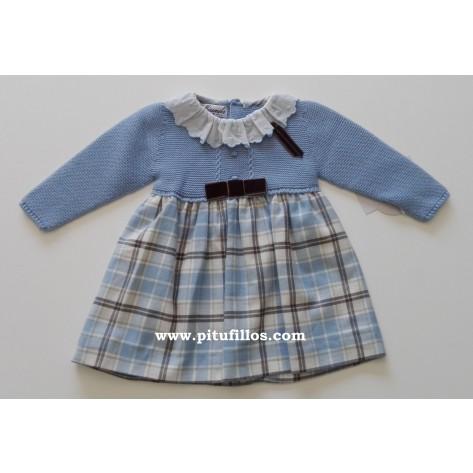 Vestido combinado cuadros azul