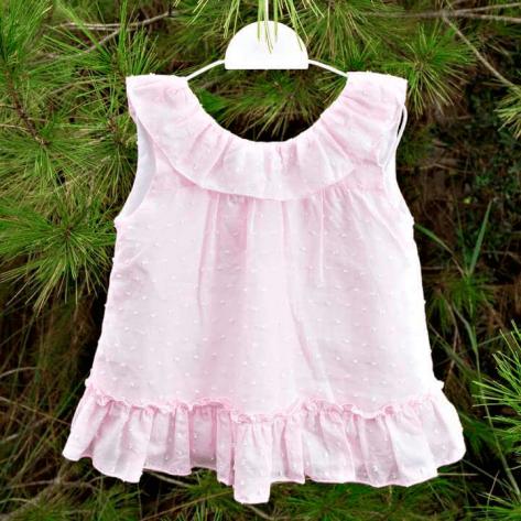 Vestido plumeti rosa y blanco volantes