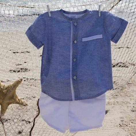 Camisa m/c azul tinta y bermuda blanca