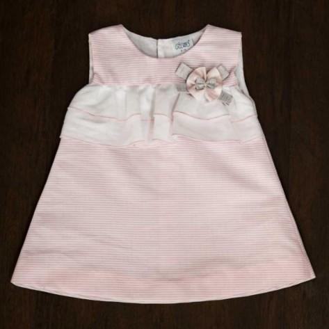 Vestido doble volante blanco y rosa