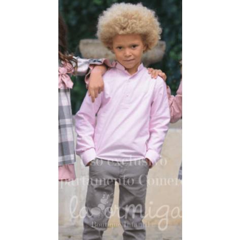 Pantalón niño sarga largo gris medio