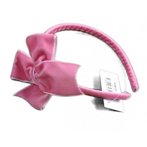 Diadema lazo clásico terciopelo rosa