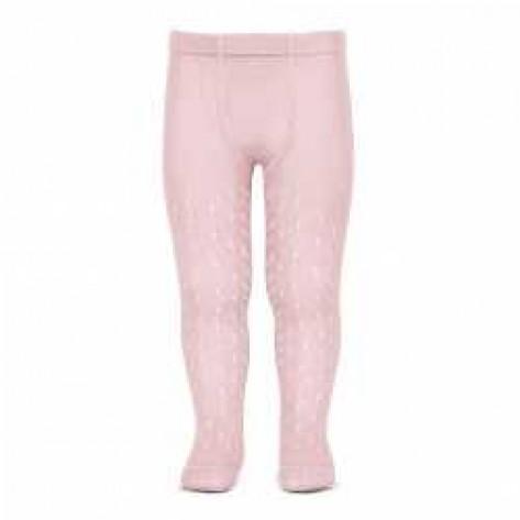 Leotardos perle calados rosa 500