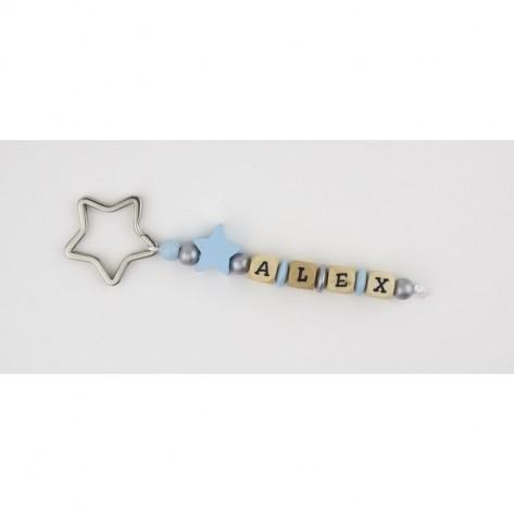 Llavero estrella azul personalizado