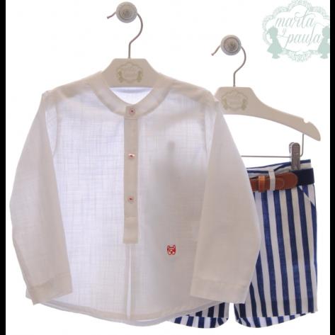 Conjunto bermuda + camisa + cinturón monet rayas