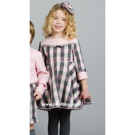 Vestido infantil cuadros rosas y gris