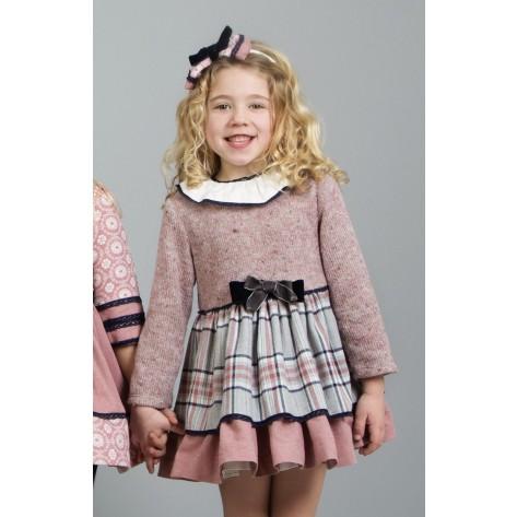 Vestido infantil combinado cuadros rosa y marino