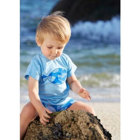 Conjunto infantil boxer y camiseta peces azul