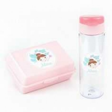 Pack Botella 600ml + Cajita Porta Alimentos Hada Rosa personalizadas