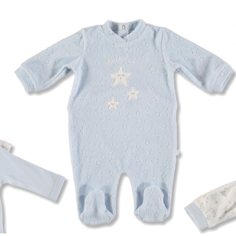 Pijama terciopelo celeste estrella