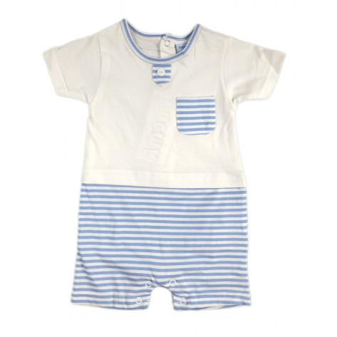 Pijama mc/ blanco con rayas azules