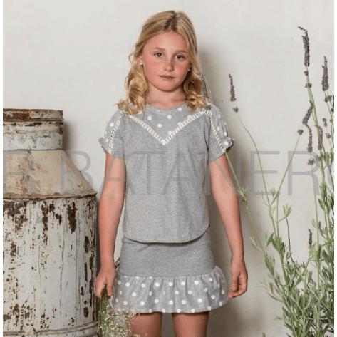 Conjunto falda y blusa algodón gris lunares blancos