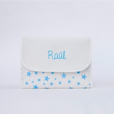 Portadocumentos estrellas azul personalizado