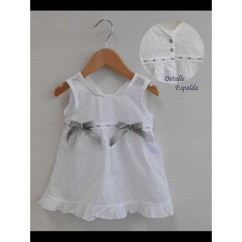Vestido corto plumeti blanco y gris