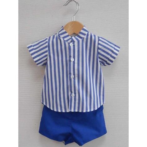 "Conjunto pantalón corto y camisa rayas ""sara"" azulón"