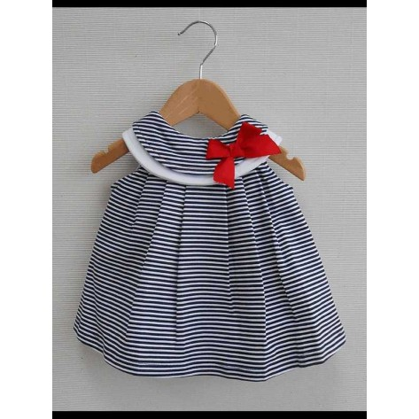 Vestido algodón rayas marino velero