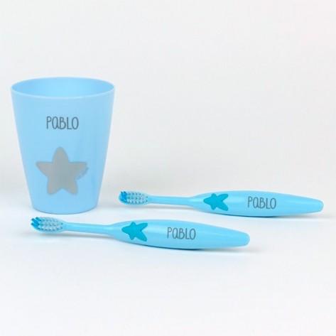 Set dos cepillos dientes + vasito personalizado azul
