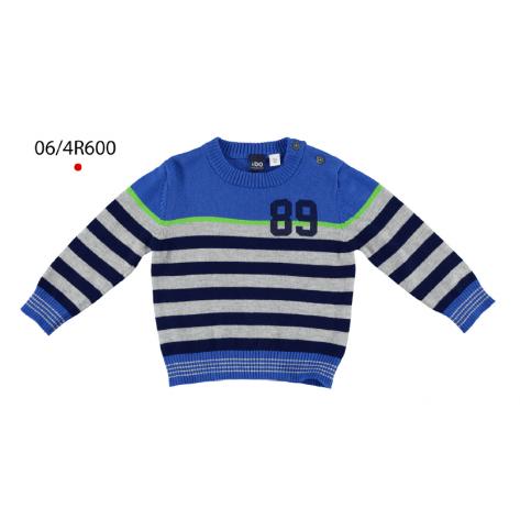 Jersey tricotosa rayas azul royal / gris