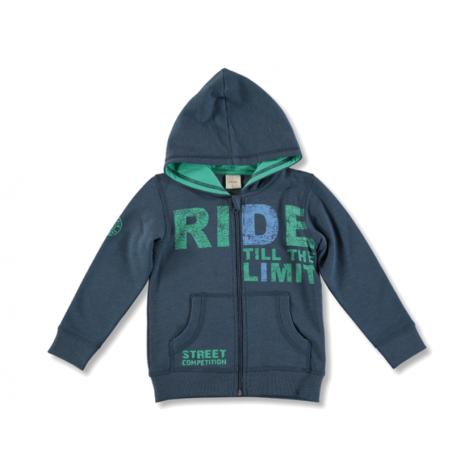Sudadera niño cremallera y capucha azul con verde