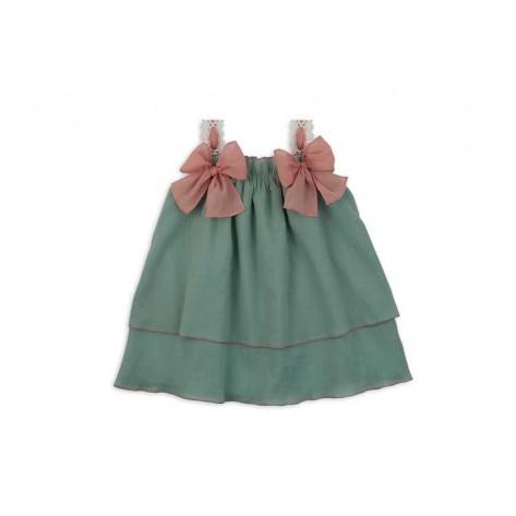 Vestido Hortensia verde mar rosa fuerte