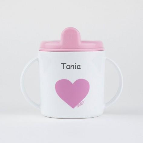 Taza corazón rosa +9m personalizada