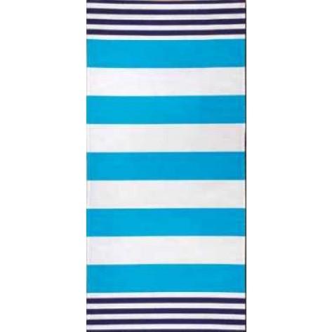 Toalla baño rayas blanco y azul