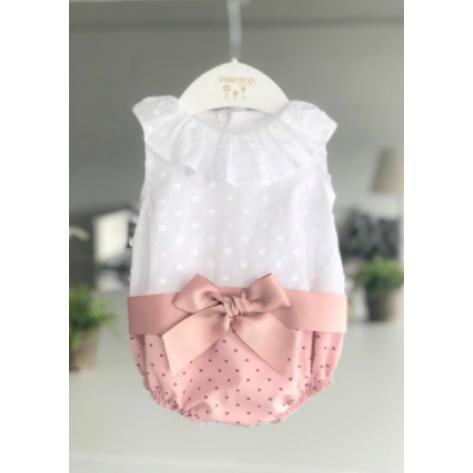 Ranita bordada minilunares rosa empolvado