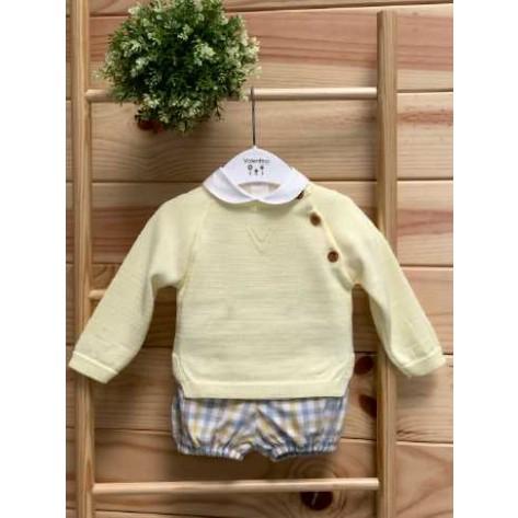 Conjunto culote y blusa vichy amarillo/azul y jersey amarillo