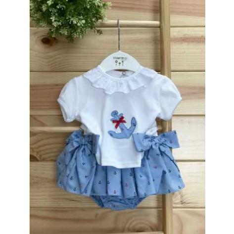 Conjunto niña culote azul anclas y camiseta