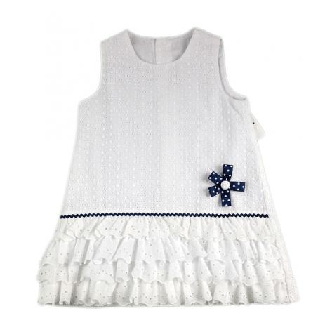 Vestido blanco con flor azul marino