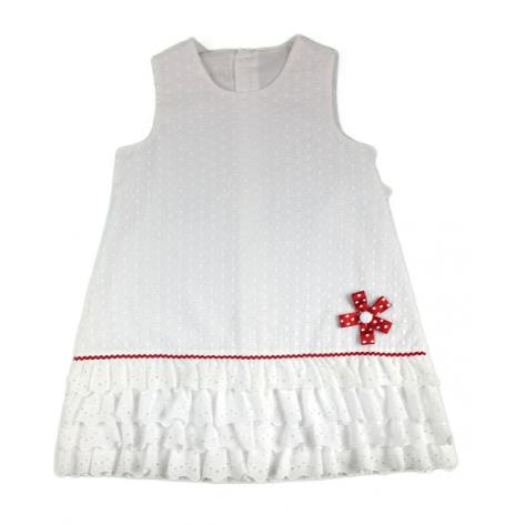Vestido blanco con flor en rojo y volantes