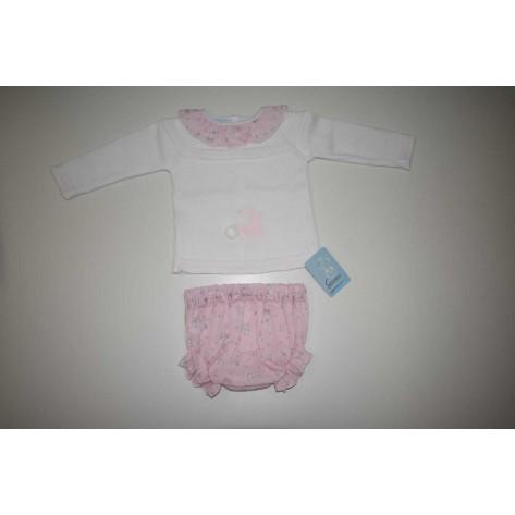 Conjunto braguita + jersey punto conejitos rosa