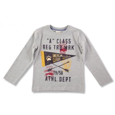 Camiseta manga larga gris claro, estampado amarillo y rojo