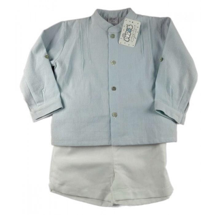 78bd53b39 Conjunto camisa cuello mao verde agua rayas y pantalón lino blanco ...