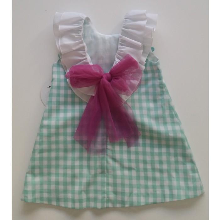 987d377d2 Vestido cuadros verde volante y lazo morado - Mon Petit Bonbon