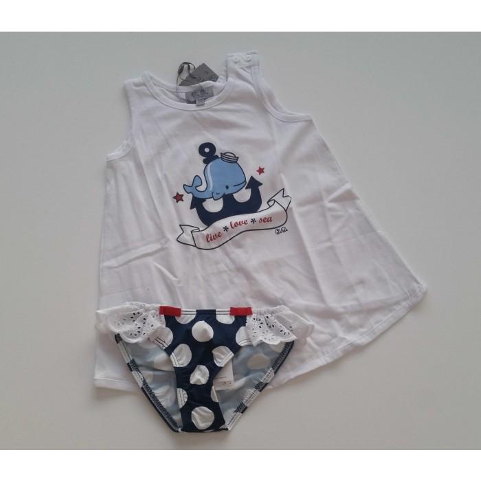 7ac7ac948 Conjunto camiseta ballena y culetín lunares - José Varón