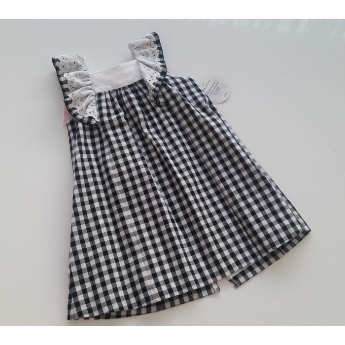 a2542ffd10 Vestido vichy negro lazo rosa - Mon Petit Bonbon