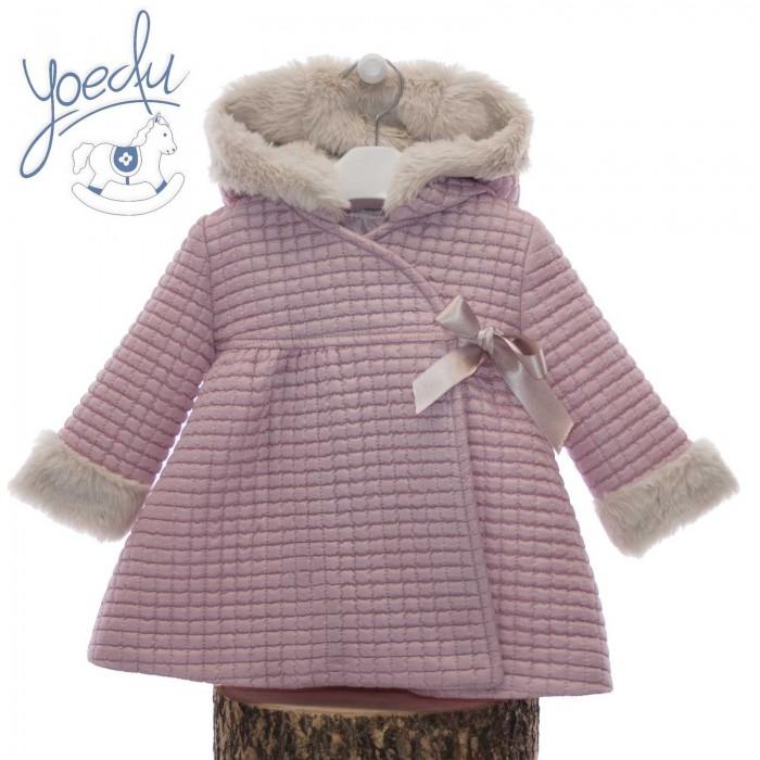 Abrigo rosa empolvado capucha pelo - Yoedu a8d690d86c7