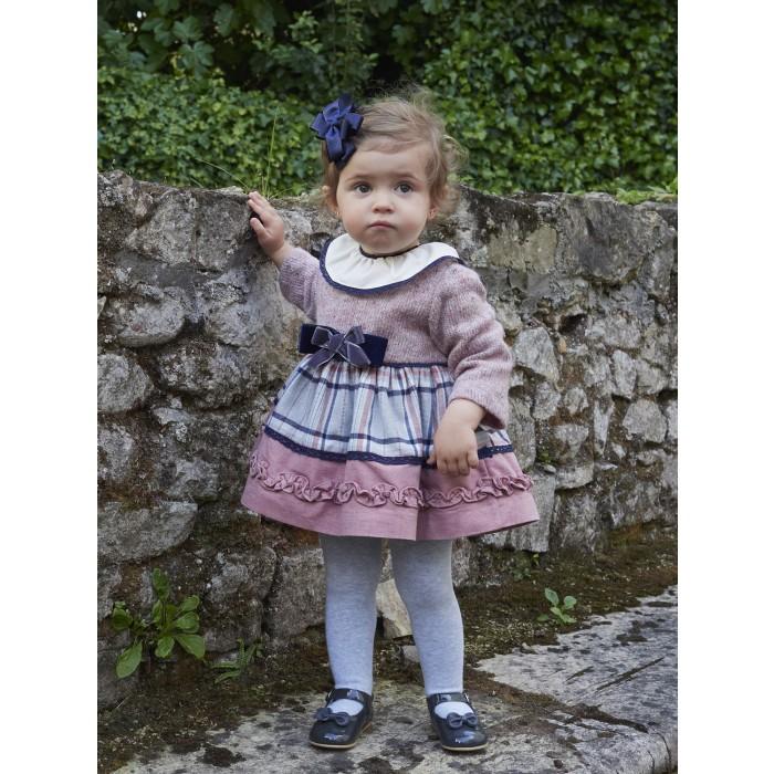 b43d1b74f Vestido bebé combinado cuadros rosa y marino - Miranda Textil